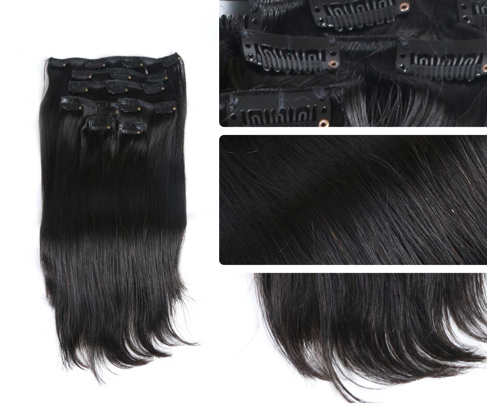 70g 100g 120g Clip In Human Hair Extensions Brazilian Remy Straight Hair #1 #1B #4 #8 #613 #27 12inch-24inch 7PC/Set Full Head
