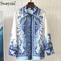 Svoryxiu 2020 Spring Summer Runway Silk Blouse Shirts Women's Long Sleeve Blue White Flower Print Vintage Shirts Tops