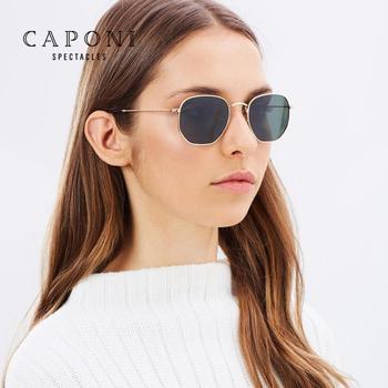 CAPONI klasyczne odblaskowe okulary przeciwsłoneczne mężczyźni odcienie dla kobiet z łbem sześciokątnym przeciwsłoneczne w stylu Retro okulary z pudełkiem metalowa rama okulary CP1081 tanie i dobre opinie CN (pochodzenie) SQUARE Dla osób dorosłych STOP polaryzacyjne Przeciwodblaskowe UV400 46mm 50mm 100 polarized with test card