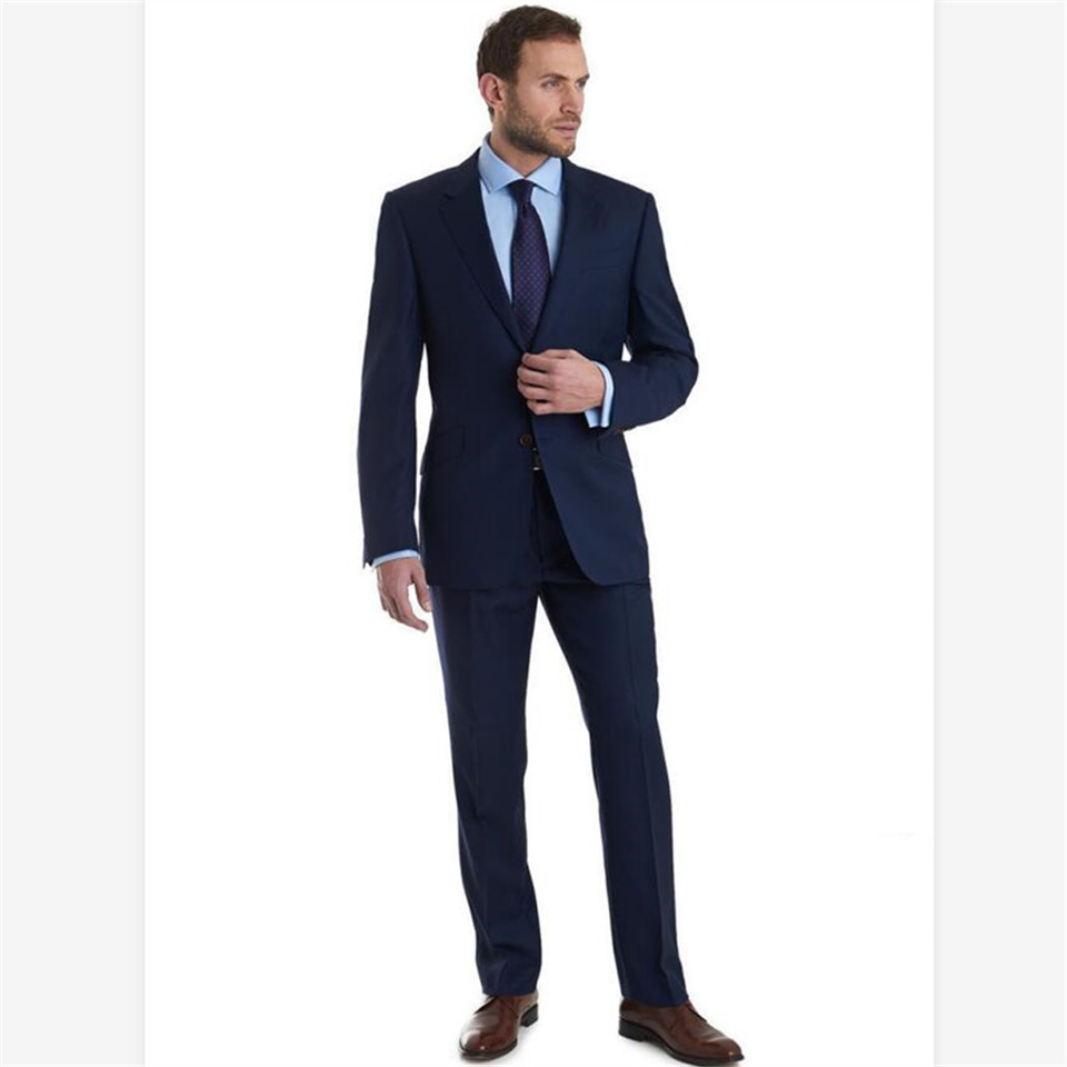 New Men's Suit Smolking Noivo Terno Slim Fit Easculino Evening Suits For Men Blue Notched Lapel Groom Tuxedos Groomsmen