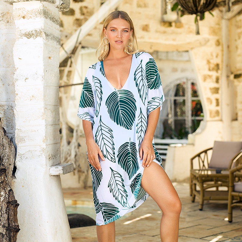 Chiffon Long Tunic Beach Dress Cover Up Leaf Print Swimwear Women Kaftan Robe Bikini Sarong Bathing Suit Girl Pareo Beachwear
