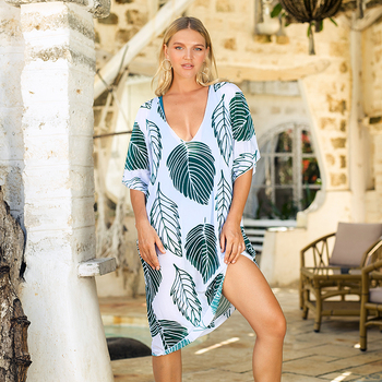 Chiffon Long Tunic Beach Dress Cover Up Leaf Print Swimwear Women Kaftan Robe Bikini Sarong Bathing Suit Girl Pareo Beachwear summer beach long maxi dress women bikini cover up beachwear swimwear kaftan tunic pareo bathing suit transparent cover ups