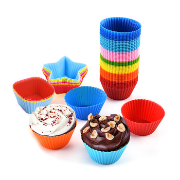 12pcs/lot Silicone Cake Cup Round Shaped Muffin Cupcake Baking Molds Home Kitchen Cooking Supplies Cake Decorating Tools