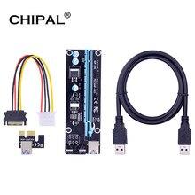 Chipal pcie 4 pinos 16x para 1x powered riser adaptador cartão 60cm usb 3.0 cabo 4 pinos pci-e para sata cabo de alimentação gpu riser cartão ver006