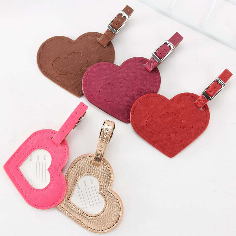 2020 New Travel Accessories Love Heart Fashion Design Leather ID Address Holder Baggage Boarding Portable Label Luggage Tag