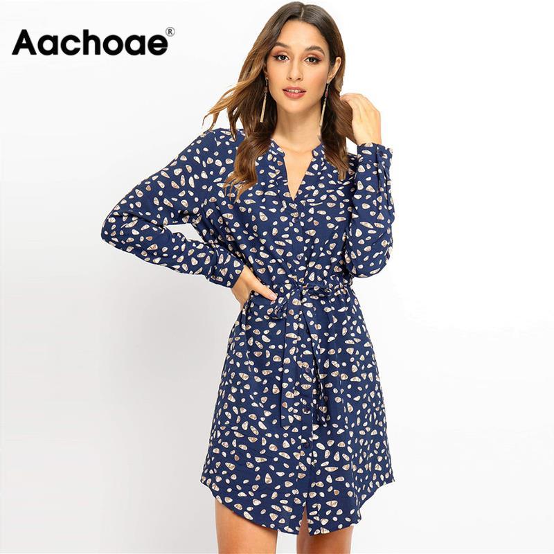 Shirt Dresses Long Sleeve For Women 2020 Autumn Floral Print Elegant Office Dress Vintage V Neck Mini Party Dress Vestidos