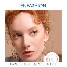 ENFASHION 웨이브 커브 드롭 귀걸이 여성을위한 골드 컬러 큰 진술 액세서리 루프 Earings 패션 쥬얼리 Oorbellen EC1027