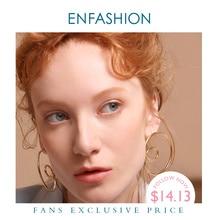 ENFASHION موجة منحنى إسقاط أقراط للنساء الذهب اللون بيان كبير اكسسوارات حلقة أقراط مجوهرات الأزياء Oorbellen EC1027