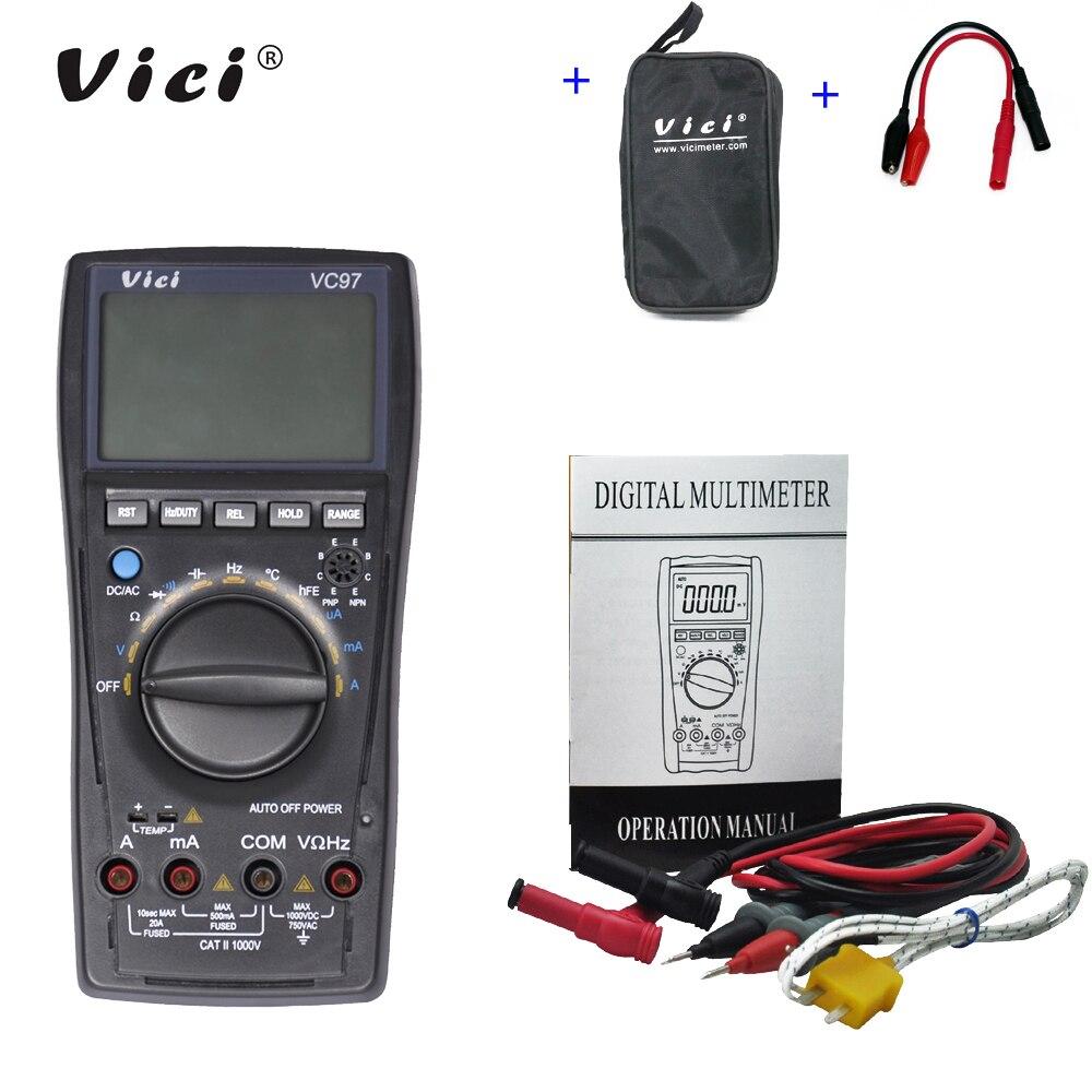 Tester + Jacaré Vici Multímetro Digital Voltímetro ac dc Tensão Corrente Resistência Capacitância Frequência Sonda Vc97 – Vc97a