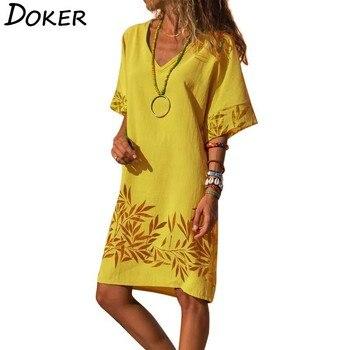 2020 Summer Print Vintage Casual Dress Women V-neck Short Sleeve Plus Size Beach Boho Dresses Elegant Loose Yellow Midi Dress elegant scoop neck abstract print short sleeve dress for women
