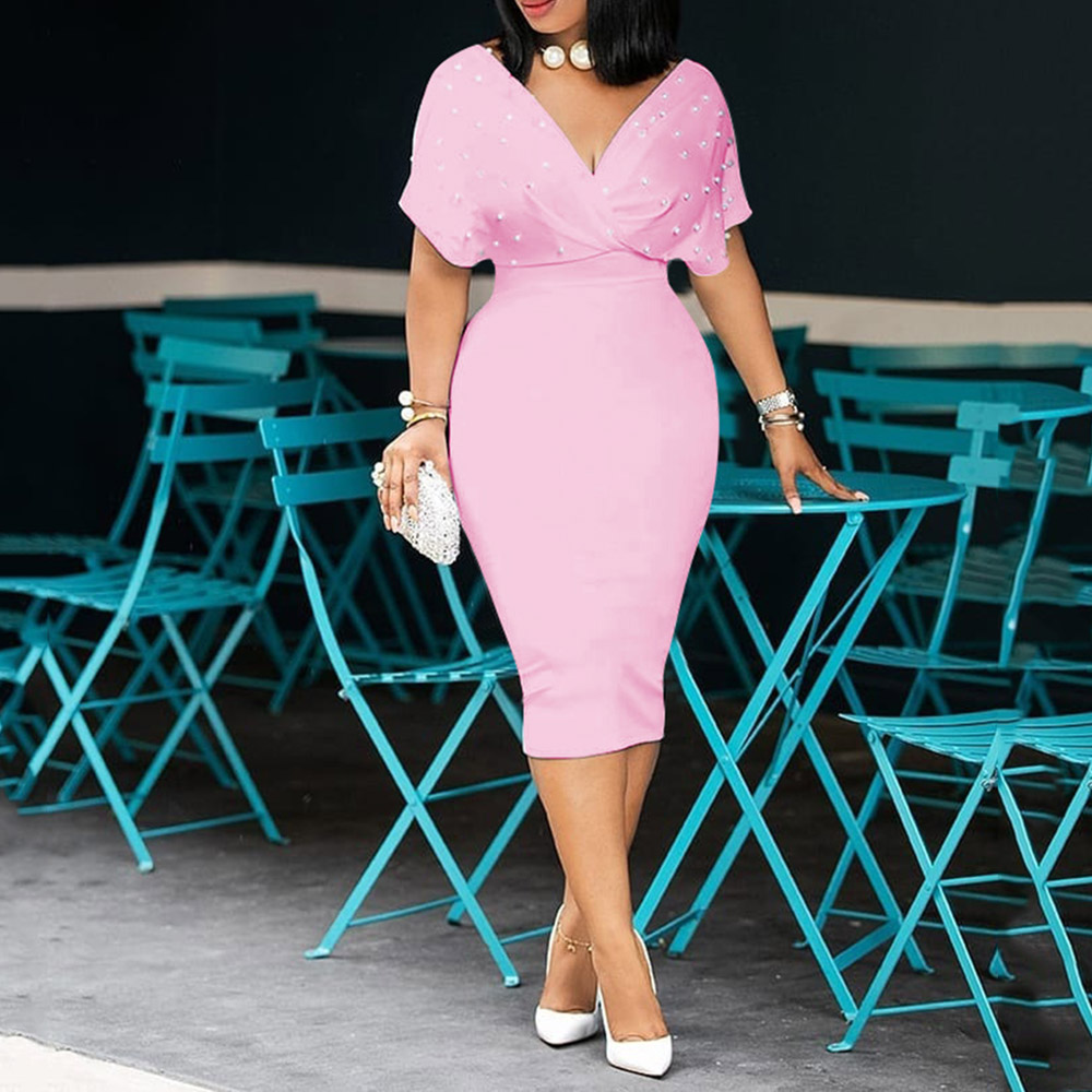 3xl Beading Lady Mermaid Dress 2020 African Women Pink Midi Dresses Robe Femme Vestiods  Elegant Office Lady  Cocktail Dress