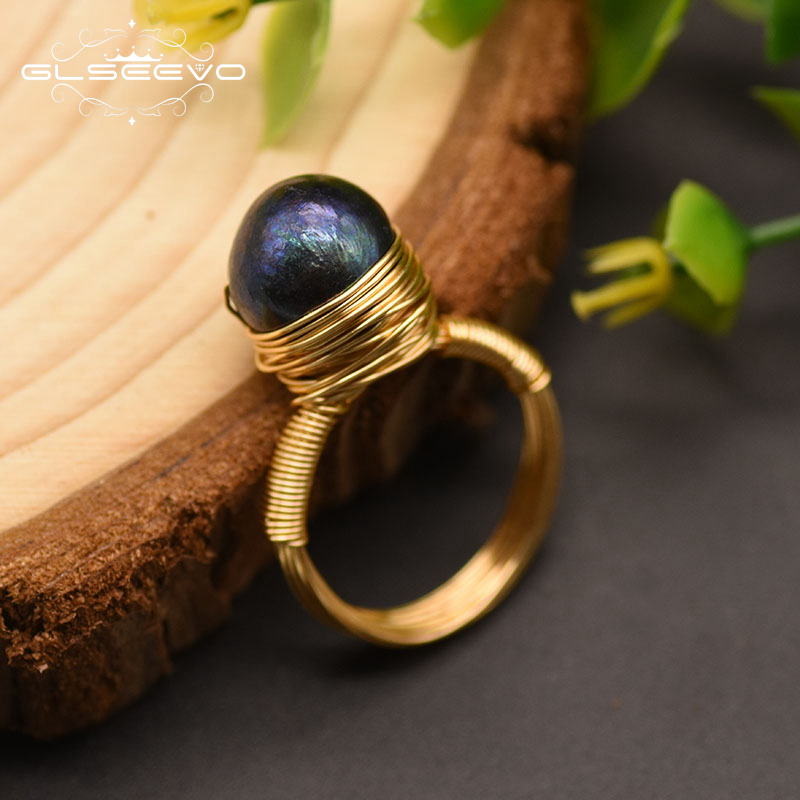 GLSEEVO Natural Fresh Water Baroque Black Pearl Rings For Women Girl Lovers' Wedding Engagement  Personality Ring Jewelry GR0192