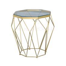 Mesa de esquina de hierro de Ins nórdico de vidrio templado pequeño apartamento de sala de estar de lujo sofá Mesa Mini mesa de centro mesa pequeña