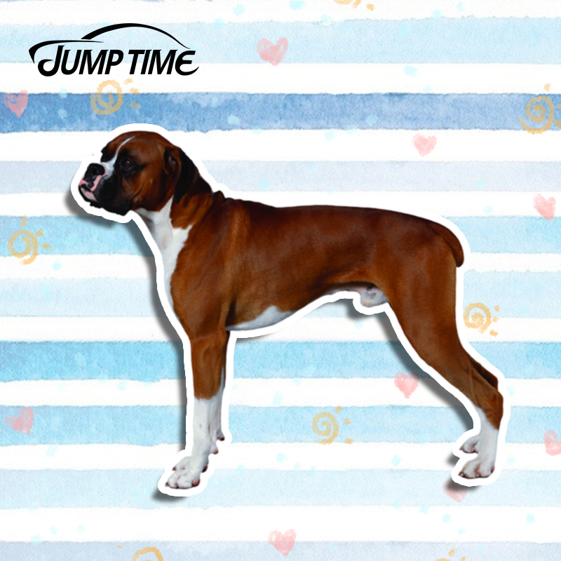 Jump Time 13cm <font><b>x</b></font> 10.9cm Funny Boxer dog Car <font><b>Stickers</b></font> Laptop Window Vinyl 3D Car Styling Auto <font><b>Motorcycle</b></font> Car Decals Accessories image