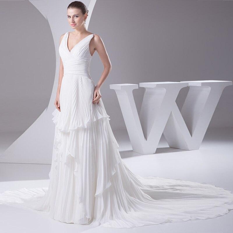 Femmes élégantes longues robes de mariée 2020 frottis col en V en mousseline de soie mince coupe parti doux robe de mariée chapelle Train - 3