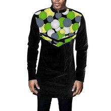 African Print long sleeve men shirt Ankara stand collar print/black tops custom made wedding wear man formal dashiki