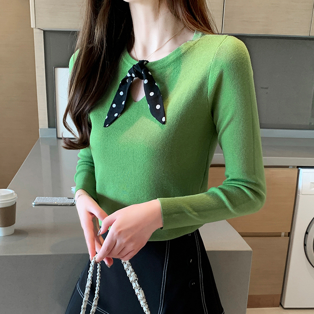 Ailegogo New Spring Women Knitted Sweater Casual Female Butterfly Collar Slim Fit Pullovers Solid Color Korean Style Knitwear 5