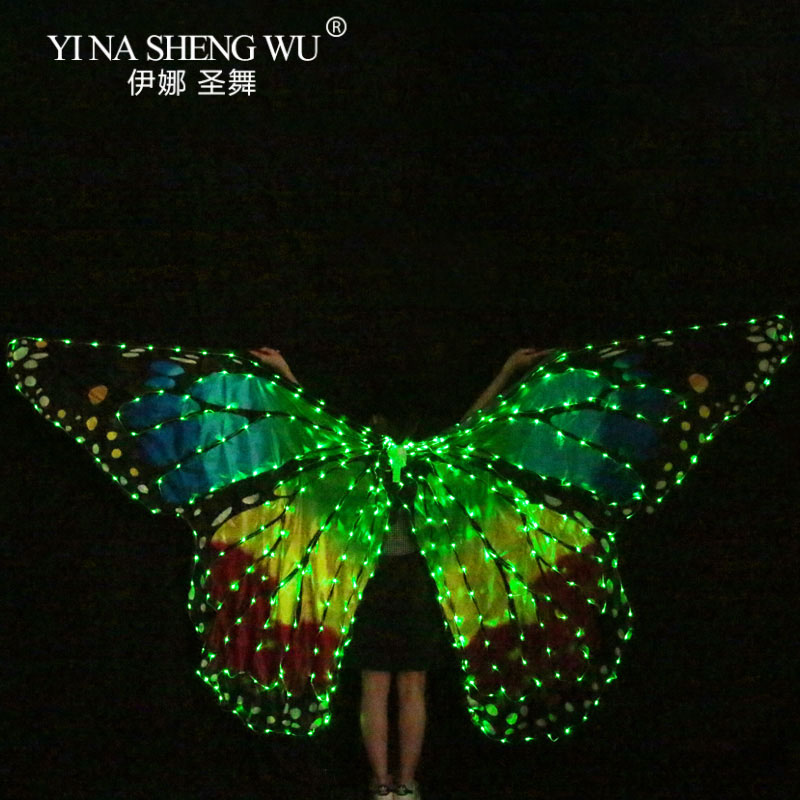 Women Belly Dance LED Wings Girl Dance Wing Butterfly Halloween LED Butterfly Cloak Stage Dance Performance Accessories LED Wing