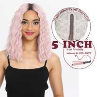 MAGIC 14 Synthetic Wigs Pink Red Bangs Water Wave Heat Resistant Synthetic Wigs For Black Women African American Lace Front Wg