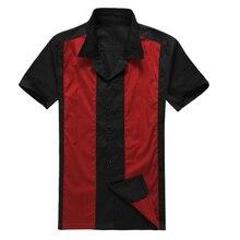 Retro 1950s Vintage Rockabilly Shirts For Men Short Sleeve Punk Rave Mens Shirt Hip Hop Hit Color Stitching