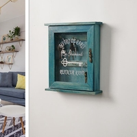 Vintage European Style Wooden Key Storage Cabinet Key Holder Box with Hanging Hooks