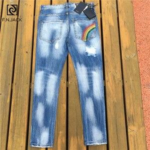Image 3 - F. n. שקע Mens ג ינס אופנתי Ripped ג ינס מכנסיים Biker סקיני ג ינס מכנסיים גברים Slim ישר מותג ג ינס Ripped ג ינס זכר