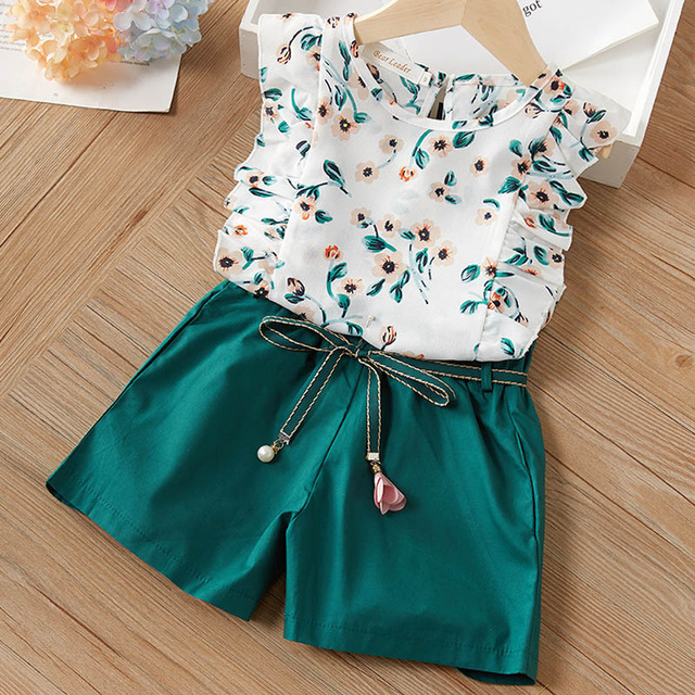 Melario Kids Girls Clothing Sets Summer Baby Girls Clothes T-Shirt and Jeans Shorts Suit 2Pcs Children Clothes Suits 8