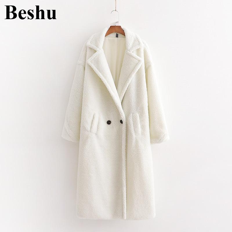 Za 2019 Winter Coat Women Casual Loose Solid Long Teddy Coat Female Vintage Plus Size White Teddy Coat Women