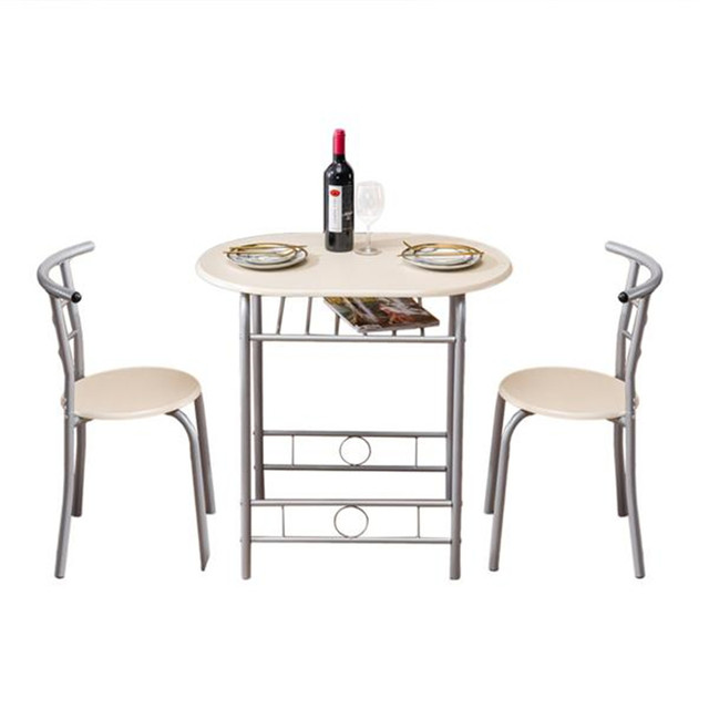 PVC Breakfast Table (One Table and Two Chairs) Black For Living Room Garden Kitchen Table Chairs Furniture 5