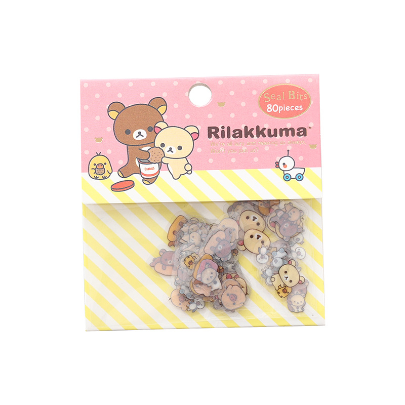 80 pcs/bag Japanese Stationery Stickers Cute Cat Sticky Paper Kawaii PVC Diary Bear sticker For Decoration Diary Scrapbooking 5