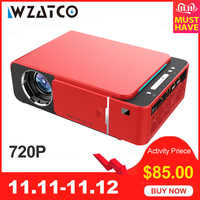 WZATCO T6 Android 9.0 WIFI Optional 2600lumen 720p HD Portable LED Projector HDMI Support 4K 1080p Home Theater Proyector Beamer