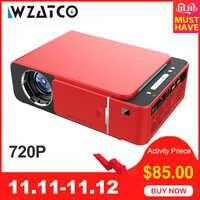WZATCO T6 Android 9.0 WIFI en option 2600lumen 720p HD projecteur à LED portable prise en charge HDMI 4K 1080p Home cinéma projecteur