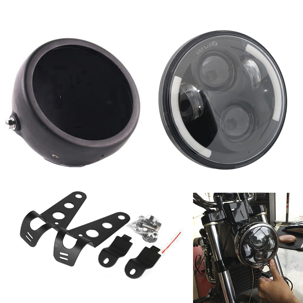 Universal Black 5.75 Inch Motorcycle Metal Projector DRL LED Front Headlight With Angel Eye + 5 3/4