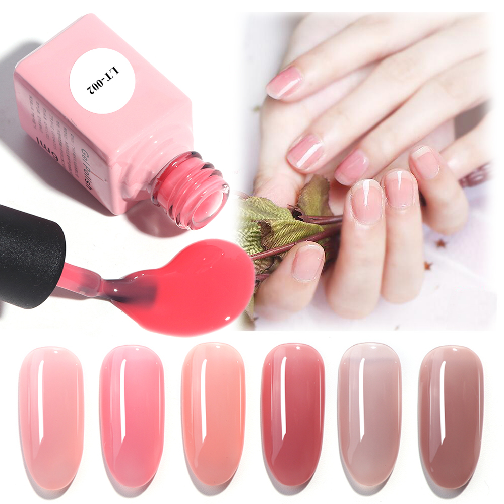 1pcs Translucent Nail Gel Polish Semi Permanent Primer Red Hybrid Top Coat Base Coat Soak Off Lacquer Nail Art Varnish TRLT01-06