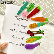 2 PCS/Lot New Women Fruit Hair Clips Cute Acrylic Vegetable Hairpins Carrot Pineapple Strawberry Hairgrips Girls Accessory