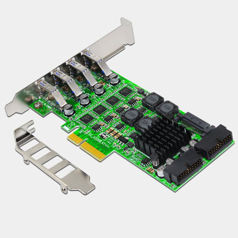 Add On Card <font><b>PCI</b></font> Express USB 3.0 <font><b>PCI</b></font>-E 19 Pin USB 3.0 <font><b>Adapter</b></font> <font><b>PCI</b></font>-E <font><b>to</b></font> USB 3.0 Controller <font><b>PCI</b></font> E <font><b>PCIE</b></font> USB3.0 Expansion Card for PC image