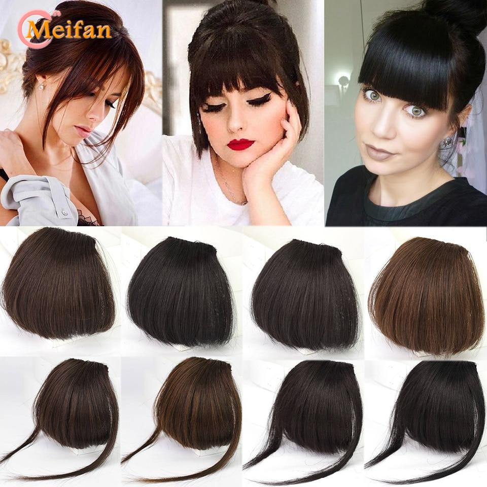 MEIFAN зажим для волос челка удлинение шиньон синтетические натуральные волосы челка кусок пневматическая челка зажим на челке черные коричн...