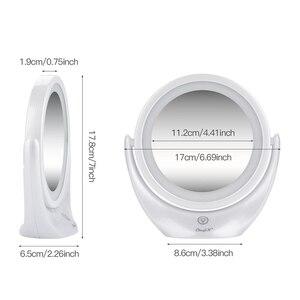 Image 5 - مرآة لوضع المكياج شاشة تعمل باللمس 1X 5X المكبر LED مرآة 360 درجة دوران قابل للتعديل مزدوجة الوجهين مرايا مستحضرات تجميل الجدول 45