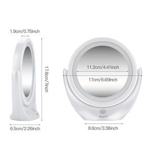 Image 5 - Зеркало для макияжа с сенсорным экраном 1X 5X, светодиодный увеличитель, зеркало с поворотом на 360 градусов, регулируемые двухсторонние косметические зеркала, стол 45