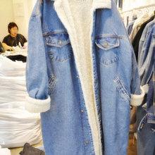 New Winter Thick Lambs Wool Basic Denim Jacket Women Corduro