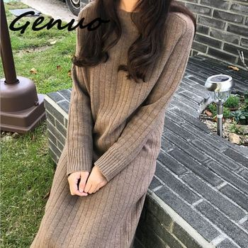 Genuo New 2019 Autumn Winter Net Red Knitting Bottom Dress Large Size Women Age Show Thin Long Hair Over The Knee
