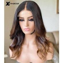 Xinhaoze Körper Welle T Spitze Vorne Perücke Menschenhaar Blond Honig Ombre 1B 30 Farbe Menschlichen Perücke Pre Gezupft 13X4 V Teil Spitze Perücke