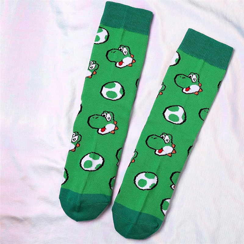 Super Mario Cartoon YOSHI  Bros New Arrival Cute Cartoon Anime Men Women Socks Ankle Socks Kawaii Party Favor Cosplay Gifts