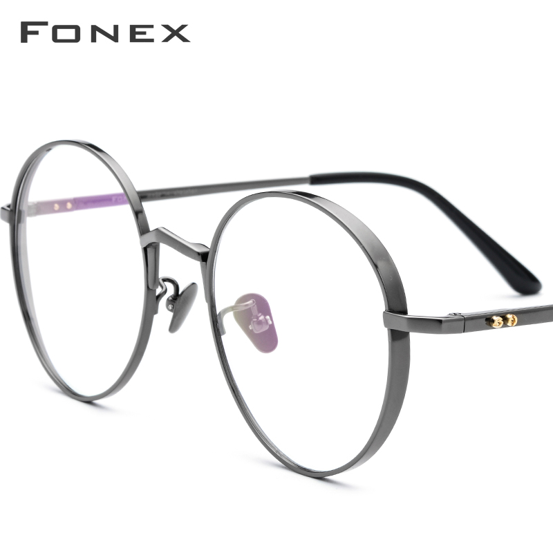 FONEX Pure Titanium Prescription Glasses Men Ultralight Retro Round Myopia Optical Eyeglasses Frame Women Vintage Eyewear 884