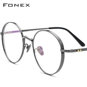 Image 1 - Fonex純チタン処方眼鏡男子超軽量レトロラウンド近視光眼鏡フレームの女性ヴィンテージ眼鏡884