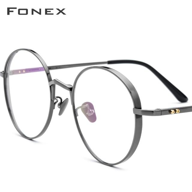 Fonex純チタン処方眼鏡男子超軽量レトロラウンド近視光眼鏡フレームの女性ヴィンテージ眼鏡884