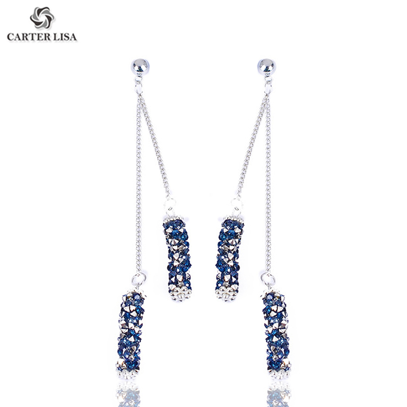 CARTER LISA Long Chain Thread Blue Silver Crystal Drop Dangle Earrings For Women Costume Jewelry Accessories Gift