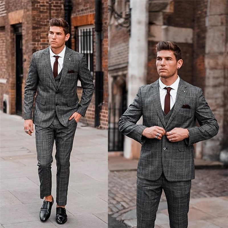 2020 Mens Suit Wool Blend 3 Piece Notched Lapel Costume Homme Formal Two Button Men Suit Custom Made