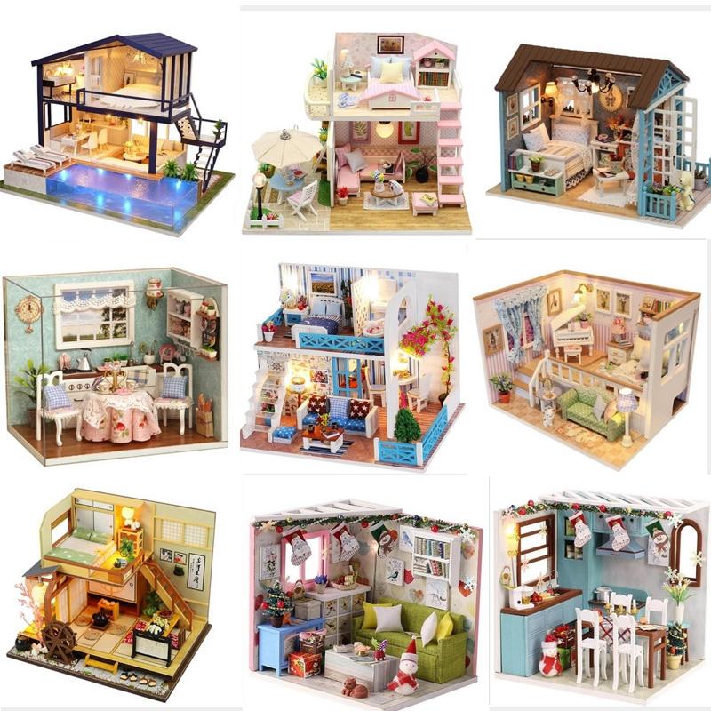 DIY Doll House Furniture Diy Miniature 3D Wooden Miniaturas Dollhouse Furniture Kit Toys For Children Birthday Christmas Gifts