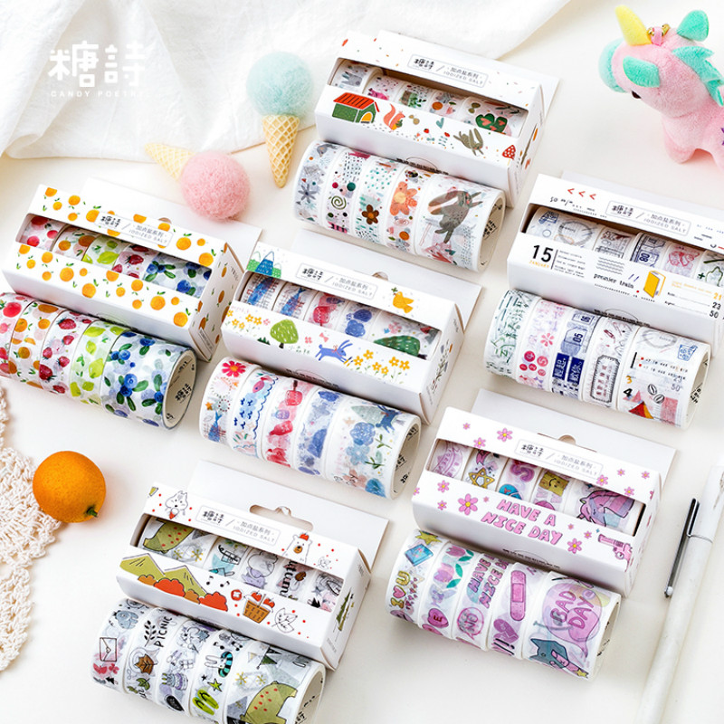 AngelHere Store 5 Pcs/lot Kawaii Washi Tape Colorful Masking Tape Cute Tape  Paper Roll For Flower Decorative Tape Stationery